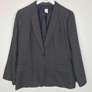 J. CREW FACTORY Charcoal Gray Linen Blazer Size 10